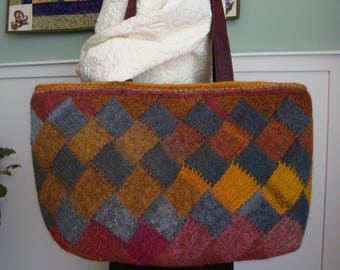 Felted Hand-knit Wool Bag