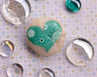 Blue Green Heart Stone/Valentine Stone