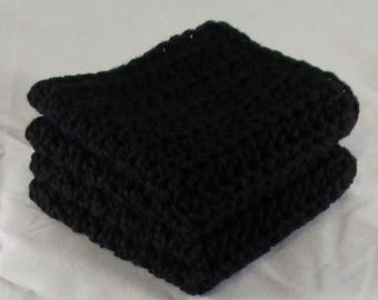 Black Cotton Washcloth, Black Crochet Washcloth, Black Dish Cloth, Black Washcloth Spa Set, Black Kitchen Cloth, Black Spa Cloths