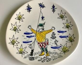 Vintage Inger Waage Stavangerflint Norway Handpainted Plate 1960s