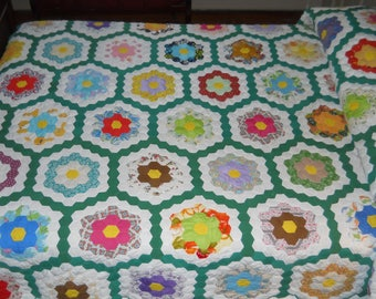 RESERVED.  Classic American Quilt!    Grandmother's Flower Garden.   Hand Done.   Dated with Provenence.  Great Condition.