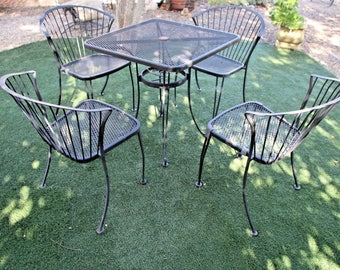 Vintage Carolina Forge Chairs and Iron Table Patio Set MCM Clam shell back safe nationwide shipping available please call for rates