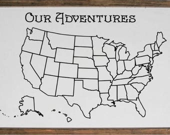 24x36 - 50 States Travel Map - Our Adventures - Picture Map - Coloring Map