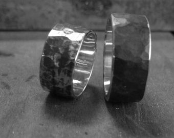 Hammered piece unique sterling silver ring