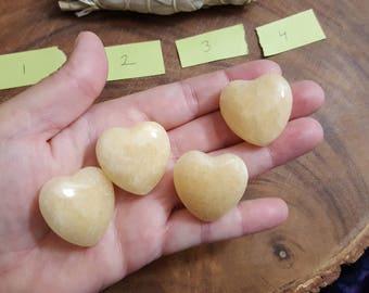 Yellow, Golden (Honey) Calcite Heart ~ One 30mm Reiki Infused gemstone Heart