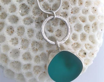 Natural Sea glass and silver necklace