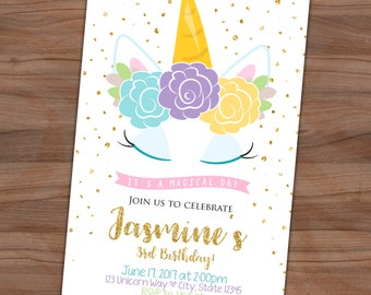 Unicorn Birthday Invitation - Magical - Floral Invite - Sleeping - Glitter Confetti - Printable or Printed - SHIPPING INCLUDED - 4x6