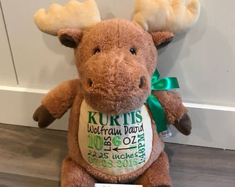 Moose embroidered stuffed animal