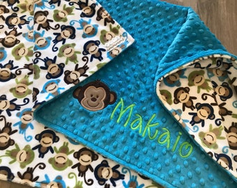 Monkey Double Sided Minky Baby Blanket, SALE!