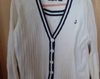 Jeanne Pierre Woman's Sweater Set White Cable Knit Blue Trim Size 1X Cotton and Nylon