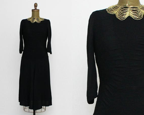 Vintage 1930s Black Dropped Waist Day Dress - Size Medium