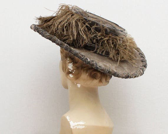 Antique Edwardian Velvet Ostrich Feather Hat