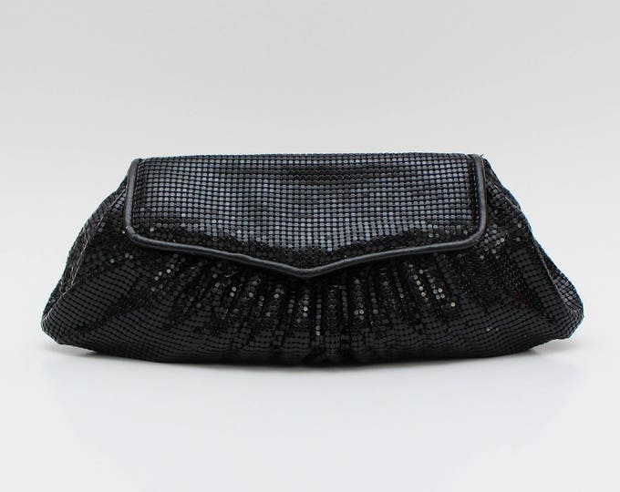 Vintage 1970s Whiting and Davis Black Clutch Purse