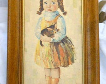 Adorable pouting little French girl with kitten Retro Picture