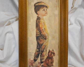 attractive picture of Little Boy with cute Terrier Dog retro 60's vintage