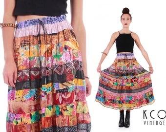 Gauze Skirt Boho Maxi Skirt Patchwork Skirt 70s Skirt Gauze Rayon Skirt India Festival Vintage Clothing Women's Size SMALL - LARGE