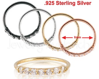 925 Sterling Silver Nose Ring, 20G (0.8mm)  Nostril Hoop Ring, Helix Ring, Tragus Earring, 8mm(5/16) Diameter, CZ Accented NH201509