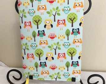 Owl composition/Journal fabric book cover