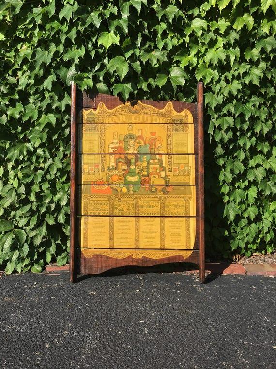 Vintage Bar Guide, 1970s Grape Tray Art, Gin, Rum, Vodka, Bourbon, Scotch, Brandy Cocktail Recipe Wall Decor, Home Bar Decor