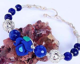 Blue Velvet Rose Sapphire Wirewrap Bangle Bracelet Handmade