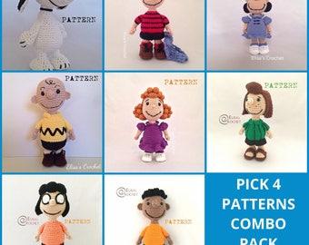 PEANUTS Crochet Pick 4 Patterns Combo - Snoopy/Charlie Brown/Lucy van Pelt/Linus van Pelt/Frieda/Peppermint Patty/Franklin/Marcie- pdf only