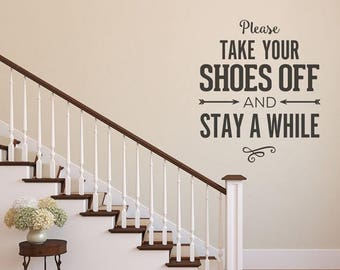 CLEARANCE SALE Please Remove Your Shoes, Wall Decal, Wall Decor, Please Take Off Your Shoes Wall Decal, Vinyl Wall Decals, Home Wall Decal