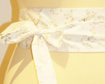 84 white/Brown floral fabric tie belt