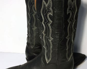 Lucchese 1883 Black Leather Western Cowgirl Cowboy Boots Women's Size 7.5