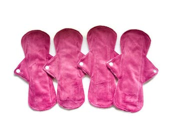 "Set of 4 pads 11"" Long Minky Menstrual Sanitary Cloth Pads Washable and Reusable Regular to Heavy Flow Pads"