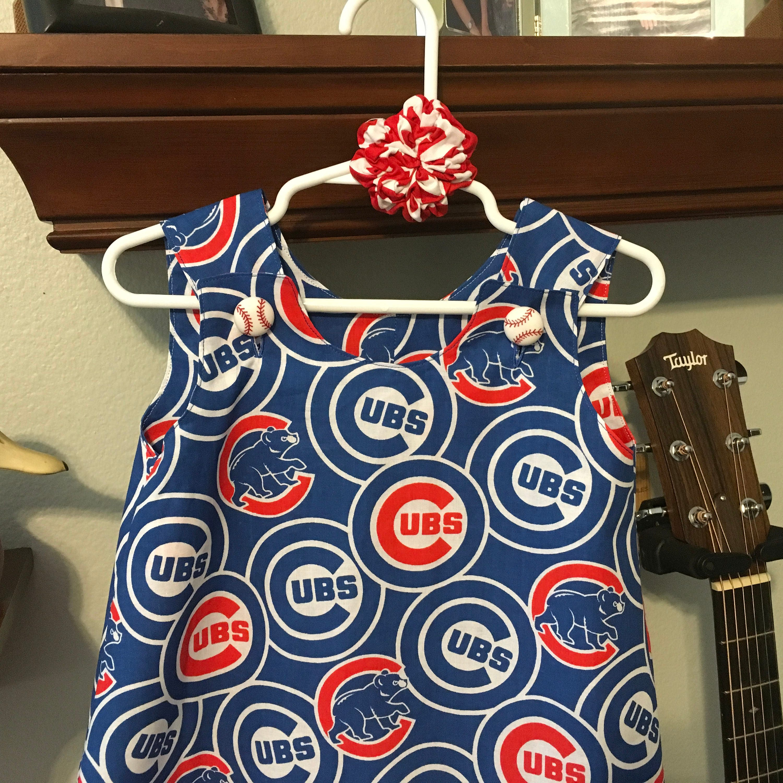 Chicago Cubs Dress Baseball Buttons Chevron Ruffle MLB Blue and