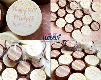 Edible Birthday Favors // Personalized Birthday // 50th Birthday Party // 50th Birthday Favors // Chocolate Covered Oreos // 50th Birthday