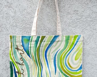 Hand-painted Green Swirly Tote bag with screenprinted gold foil lettering