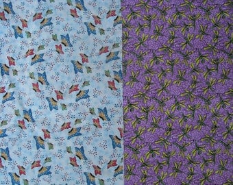 Dragonfly Fabric, Butterfly Fabric, Fabric Lot, Fabric Assortment, Cotton Quilting Fabric, Bug Fabric 1 yard 5 inches total