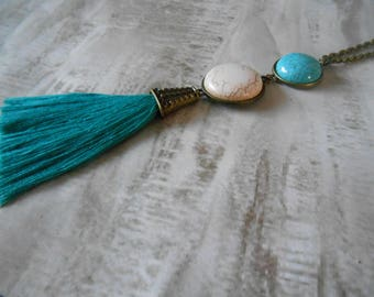 Tassel necklace and stone bohemian style