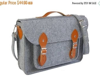 Christmasinjuly Laptop bag 13 in, felt satchel, macbook pro, macbook air 13 inch sleeve, case, bag with leather strap buckle