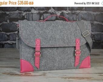 Christmasinjuly Macbook Pro 15 inch bag, Felt Laptop bag 15 inch with pocket , sleeve, Laptop case with belt shoulder
