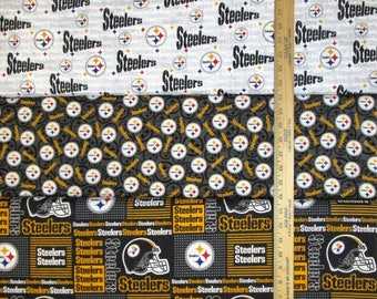NFL Logo Pittsburgh Steelers Black & Yellow with Blenders Cotton Fabric by Fabric Traditions! [Choose Your Cut Size]