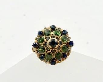 Vintage 14k Gold PRINCESS MOGUL RING Blue Sapphire Green Tourmaline Thai Princess Harem Ring Sz 5.25