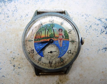 Vintage Soviet Union USSR era Rare painted Dial men wrist watch Mechanical Watch START like POBEDA from 1950s / collectible watch Kirovskie