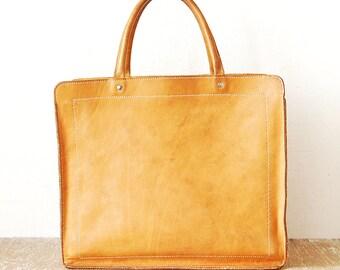 Vintage Orange Leather Tote Bag, Shopping Top Handle Handbag, Genuine Leather Bag with Handles, Tote Leather Everyday Bag, Laptop Bag
