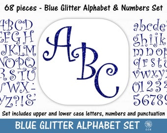 Blue Glitter Digital Alphabet and Numbers Clipart Set - curly font style - Commercial Use - Instant Download (A019)