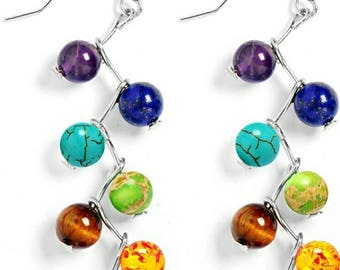 Long Earrings 2017 Fashion Natural Stone Earrings Yoga Chakras Beaded Earrings With Rhinestone Sparkling Jewelry free delivery