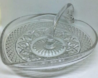 Imperial Glass Cape Cod Handled Mint Dish, Heart Shape Clear Nappy