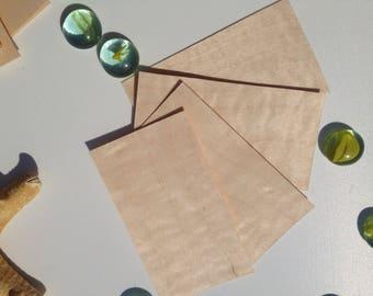 wood paper for memo,wood blanks,business card blanks,set 50 pcs, 8,5cm x 4,6 cm