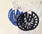 Custom Order, 2 Pairs of Crochet Hoop Earrings, Beaded Jewelry, Seed Bead Earrings in Black and Blue