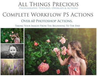 60 Fine Art COMPLETE WORKFLOW PROFESSIONAL Photoshop Actions. For Newborn, Maternity, Child, Wedding and Family Photographers!