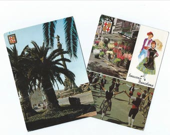2 Vintage Barcelona Postcards - Spain - Sights of the city - P55