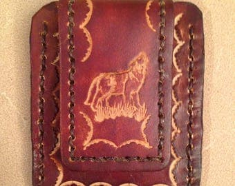 Tooled Brown Leather Credit Card Magnetic Money Clip - Wolf
