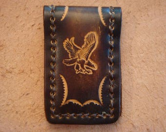 Tooled Brown Leather Magnetic Money Clip - Eagle