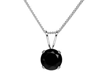 6mm Round Faceted Genuine Black Spinel 925 Sterling Silver Pendant + Chain / Necklace